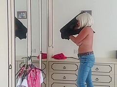 Trying clothes on for a downblouse video (prequel)