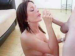 Slutty naked nympho gifting her man with tugjob and blowjob