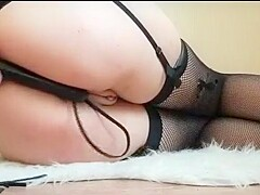 Ass and pussy masturbating in my black stockings to orgasm