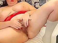 Big milf playing with her pussy