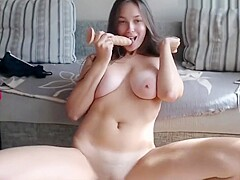 Girlfriend tit and pussy play on Skype