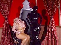 Rubber slave girl dresses into Latex
