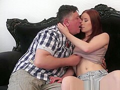 Redhead Teenager Babe Banged By Pensioner