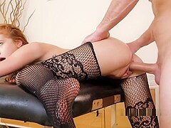 Horny And Oiled Redhead Gets Fuck And Cum