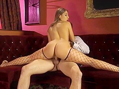 Flexible Strip Club Chick In Fishnets Gets Fucked