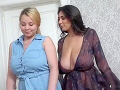 Teasing breasty whore having an incredible lesbian sex