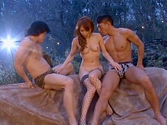 Yuu Konishi In Stockings Fucks Two Guys Outdoors