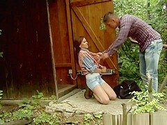 Gagging Submissive Rough Fucked Outdoors