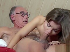 Teen girl with pierced tongue seduces grandpa and fucks him hard