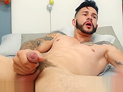 Jack Tattoo on Flirt4Free - Bearded Latino Stud Plays with His Tight Ass