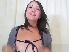 Chubby Gothic amateur spits on and sucks my cock to support her boyfriend