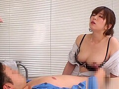 Naughty Asian nurse Kaho enjoys patient in position 69