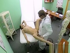 Brunette beauty gets creampie in a fake hospital