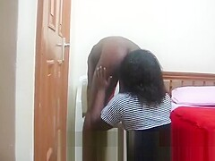African bomb makes gf bend to tongue her