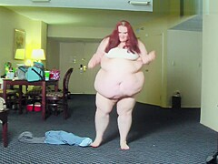 Fat Girl Walks And Strips From Clothes - SSBBW Weight Gain n Belly Show Off