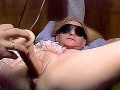 Trailer trash sub - tied to the bench - more dildo torture for her pussy
