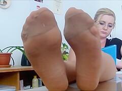 tan pantyhose feet tease