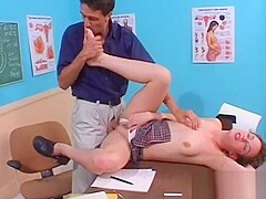 Horny teacher fucks his student&#039_s taut arse hard and deep