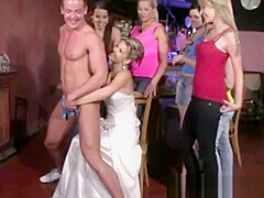 CFNM bachelorette puts cock in her mouth