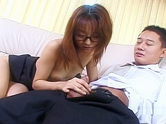 Asian teacher has her student on his knees