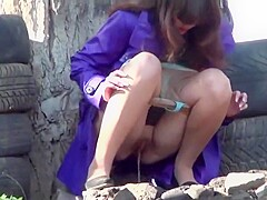 Outdoors girl peeing Pissing Outdoor
