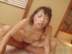 Asian beauty gets mouth and pussy filled with 2 hard cocks