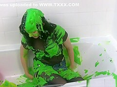 See-through green slime and cupcakes
