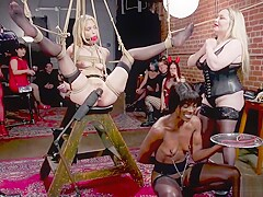 Ebony and blonde are tormented in ball