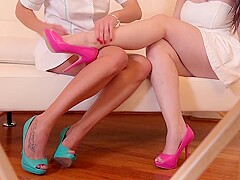 Busty Spanish goddess Nekane having foot fetish sex action with her masseuse Ally Breelsen