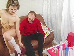 Old man massages and fucks his daughter in law