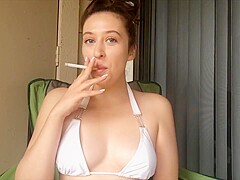 Sexy Goddess D Smoking Outside In White Bikini Top King Size Cork Tip 100