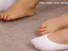 two bikini girls tied up and struggling in white ankle socks