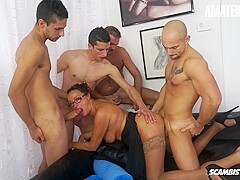 AMATEUREURO - Italian Granny Gets DP and Ganbanged By 4 Young Cocks
