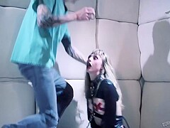 Wild and horny blonde with small tits is getting railed from behind in a soundproof room