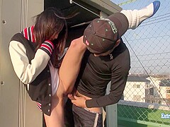 Jav Amateur Maeda Fucks On Rooftop In The Winter Uncensored Outdoors Exhibitionist