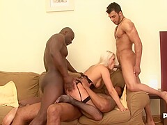 Blanche Bradburry is spreading her legs wide open for a horny, black dude and getting fucked hard