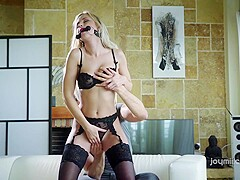 Lara knows the right moment to put on black stockings and be a submissive slut