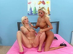 Blondes, Tara and her secret girlfriend are making love in front of a hidden camera