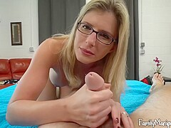 Blonde lady with glasses, Cory Chase spread her legs wide open and got fucked hard
