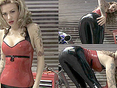 Becky Holt in Red Top and Leggings - LatexHeavenVideo