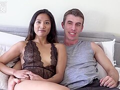 Small titted chick, Tina Torres is having casual sex with Joel Gordo, in his bedroom
