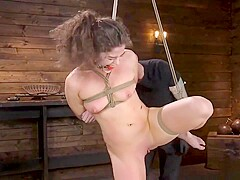 Tied babe is spanked and anal fucked