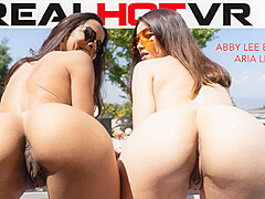 Abby Lee Brazil & Aria Lee in Mom & I Share Your Cock While Masturbating Together - RealHotVR