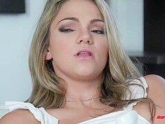 Impressive blonde darling, Athena is getting fucked in front of her boyfriend and having a blast