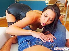 Smoking hot brunette housewife, Rachel Starr is cheating on her husband with a handsome guy