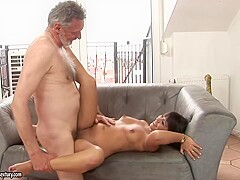 Brown haired darling with a thick ass gets nailed by her dirty old man, what a bitch