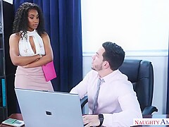 Gorgeous, black chick, Jenna Foxx likes to have sex with her boss, as often as possible
