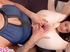 Sweet brunettes, Lexi Dona and Angel Princess are fisting each others pussy, because it feels good