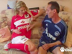 Hot skinny blonde girl with pigtails gets porked by a big white cock from her back