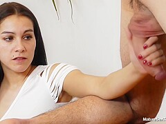 Great loking brunette teacher with big tits is playing with her students rock hard dick